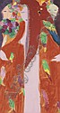 Walasse Ting b. 1929 , Three Ladies acrylic on paper laid on canvas   , Walasse Ting, Click for value