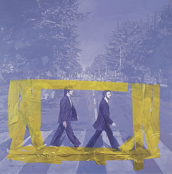 Dede Eri Supria B. 1956 , No More John & George In Abbey Road oil on canvas