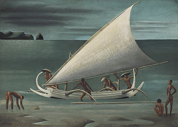 Miguel Covarrubias 1904-1957 , Balinese Fishermen With Outrigger   gouache on paper