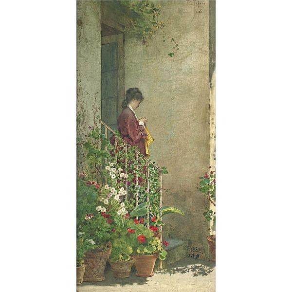 Eduardo Tofano 1838-1920 , A Summer Morning watercolor on paper