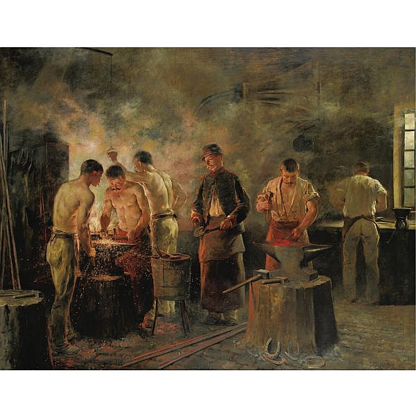 Jules Elie Delaunay 1828-1891 , In The Military Forge oil on canvas