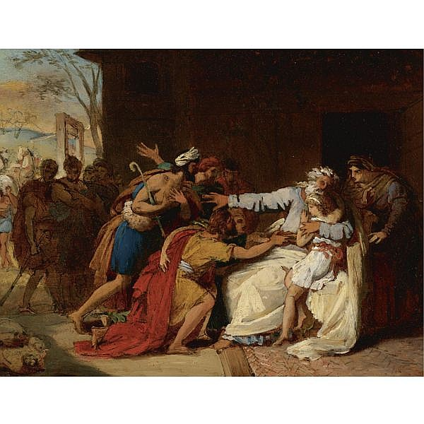 Théophile Auguste Vauchelet Paris 1802 - 1873 , Jacob refusing to send Benjamin away oil on paper, laid down on canvas