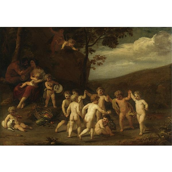 Cornelis Holsteyn Haarlem 1618 - 1658 Amsterdam , Putti Making Music and Dancing in a Landscape oil on canvas