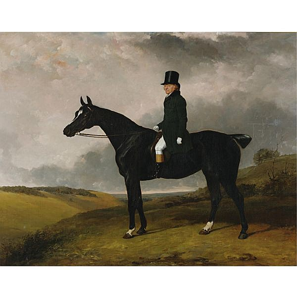 Abraham Cooper R.A. 1787-1868 , Daniel Haigh, Master of the Old Surrey and Burstow Hunt on his Horse Kitten oil on canvas