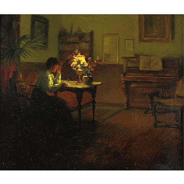 José Julio Souza-Pinto 1855-1952 , the letter oil on canvas
