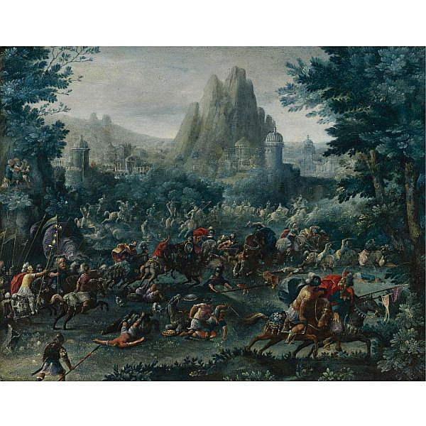 Attributed to Frans Francken the Elder Herentals 1542 - 1616 Antwerp , Cavalry skirmish with a Mountainous Landscape Beyond oil on copper