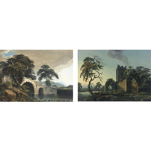 Thomas Walmsley 1763-1806 , White Abbey near Limerick and Figures by a Stream: two gouaches gouache on paper laid down on paper