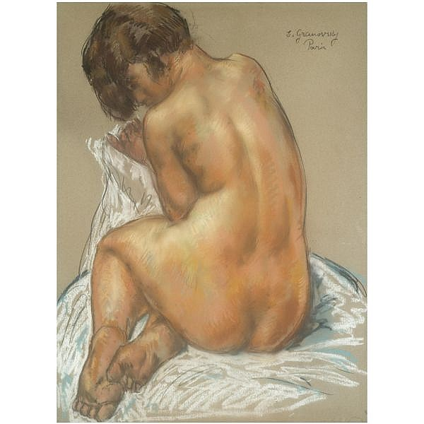 Samuel (Chaim) Granovsky , 1889-1942 Seated nude pastel on paper