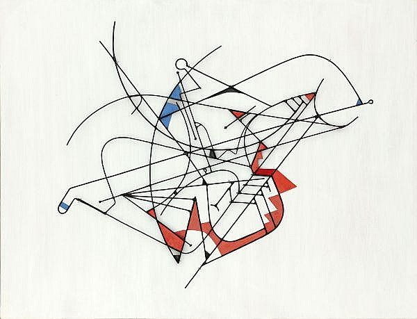 Walter Bodmer 1903-1973 Bemaltes Drahtrelief auf Holz montiert