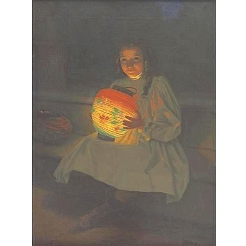 JACQUES ALSINA 19TH/20TH CENTURY THE CHINESE LANTERN 25 1/2 by 19 1/4 in. 65 by 49 cm. signed Alsina (lower right) oil on canvas Condition Note: Canvas is lined. SURFACE: relining has compressed surface somewhat, but there is still good pigment