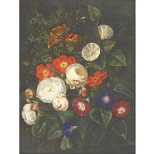 ATTRIBUTED TO WILLIAM HAMMER 1821-1889 STILL LIFE OF ROSES AND BIND WEEDS 20 3/4 by 15 5/8 in. 52.7 by 40 cm. oil on panel Condition Note A repaired, vertical split in panel. Paint surface in good condition under a slightly yellowed but glossy