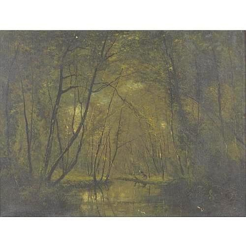 CESAR DE COCK 1823-1904 A FOREST STREAM 19 3/4 by 25 1/2 in. 50 by 65 cm. signed Cesar de Cock (lower left) oil on canvas Condition Note Lined canvas. Some paint loss at bottom edge and at center of upper edge; canvas is lifting off lining at lower