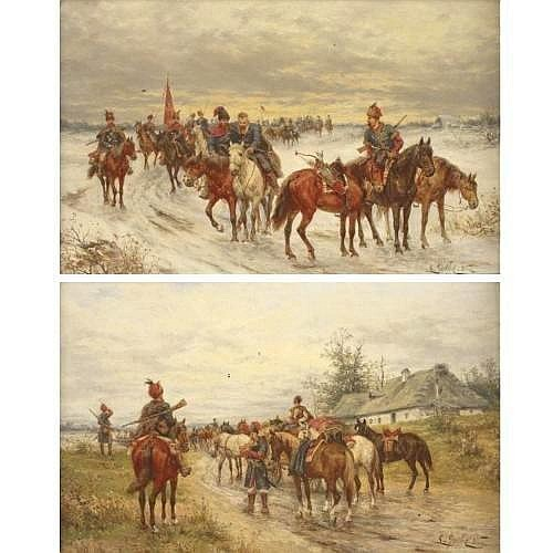 LUDWIG GEDLEK 1847-1904 MOUNTED COSSACKS: A PAIR 8 by 12 3/8 in. 20. 5 by 31.5 cm. each signed L. Gedlek and inscribed Wien (lower right) oil on panel (two works) Condition Note: Both in good condition; one with a small hole in panel at upper left,