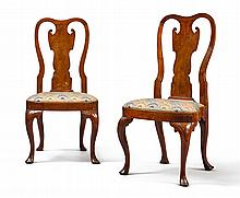 VERY RARE PAIR OF QUEEN ANNE CARVED WALNUT COMPASS-SEAT SIDE CHAIRS, PHILADELPHIA, CIRCA 1740 |