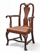 VERY FINE AND RARE QUEEN ANNE CARVED WALNUT OPEN ARMCHAIR, PHILADELPHIA, CIRCA 1750 |