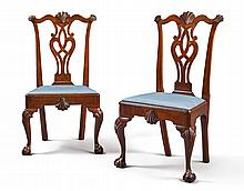 FINE AND RAREPAIR OF CHIPPENDALE CARVED MAHOGANY 'SIX-SHELL' SIDE CHAIRS, PHILADELPHIA, CIRCA 1770 |