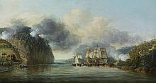 DOMINIC SERRES, R.A. (AUCH 1722 - 1793 LONDON) | His Majesty's Ships <em>Phoenix</em>, <em>Roebuck</em> and <em>Tartar</em>, accompanied by three smaller vessels, forcing their way through the cheval-de-frise on the Hudson River between Forts