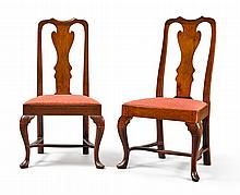 PAIR OF QUEEN ANNE CARVED WALNUT SIDE CHAIRS, PHILADELPHIA, CIRCA 1750 |