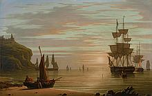 ROBERT SALMON (1775 - C. 1845) | Calm & Sunset, Shipping; Tynemouth Point and Boat