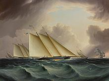 JAMES EDWARD BUTTERSWORTH (1817 - 1894) | Racing in New York Harbor (Fetching the Mark)