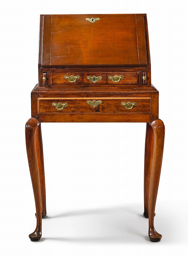 BENJAMIN FAMILY QUEEN ANNE CARVED CHERRYWOOD SLANT-FRONT DESK-ON-FRAME, STRATFORD, CONNECTICUT, CIRCA 1760 |