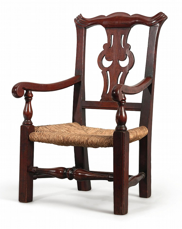 CHIPPENDALE CARVED MAHOGANY CHILD'S ARMCHAIR, NEW ENGLAND, CIRCA 1790 |