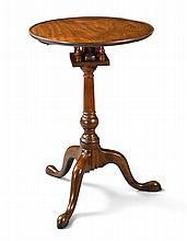 QUEEN ANNE FIGURED MAHOGANY DISH-TOP TILT-TOP CANDLESTAND, PHILADELPHIA, CIRCA 1770 |