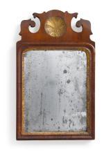 RARE QUEEN ANNE PARCEL-GILT WALNUT SMALL WALL MIRROR, CIRCA 1750 |