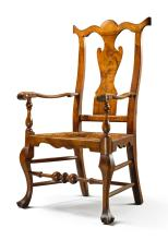 EXCEPTIONALQUEEN ANNE CARVED AND FIGURED MAPLE ARMCHAIR, ATTRIBUTED TO SOLOMON FUSSELL OR WILLIAM SAVERY, PHILADELPHIA, CIRCA 1750 |
