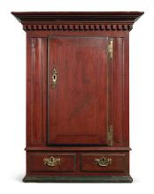 CHIPPENDALE CARVED AND PAINTED PINE AND POPLAR HANGING WALL CUPBOARD, PENNSYLVANIA, CIRCA 1795 |