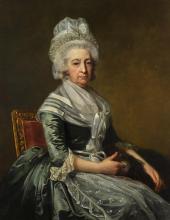 JEAN LAURENT MOSNIER | Portrait of Mrs John Drummond, seated three-quarter length, wearing a blue dress, white lace apron and cap