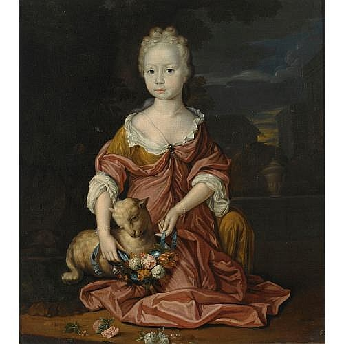 Mattheus Verheyden Breda 1700 - 1777 The Hague , a portrait of a young girl, seated full-length, wearing a yellow and red satin dress, dressing up a sheep with a flower garland, in a formal garden