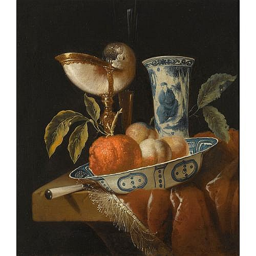 Juriaan van Streek Amsterdam(?) 1632 - 1687 Amsterdam , A still life with an orange and peaches in a porcelain wan-li bowl, a nautilus cup, a chinese porcelain vase and a knife, all on a stone table draped with a red velvet cloth