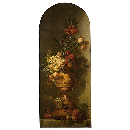 Willem van Leen Dordrecht 1753 - 1825 Delfshaven , an elaborate still life with lilies, tulips, roses, morning glory, auricula, hyacinths, an imperial crown and other flowers in a terracotta vase, together with grapes, a pineapple, a peach, an apple,