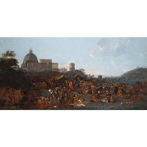 f - Jan Miel Beveren-Waes near Antwerp 1599 - 1664 Turin , Figures feasting at a fair in Prati, outside the walls of Rome, with the Basilica di San Pietro and Monte Mario beyond