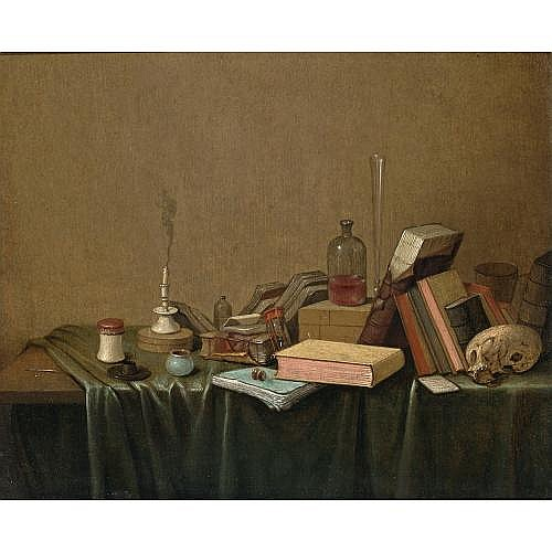 Gerrit van Vucht Rotterdam (?) 1610 - 1697 Schiedam , a vanitas still life of books, a candlestick, an ink well, an hour-glass, a glass bottle, a flute, a skull and other objects, all on a table draped with a green cloth