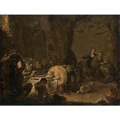 Cornelis Saftleven Gorinchem 1607 - 1681 Rotterdam , The Temptation of Saint Anthony
