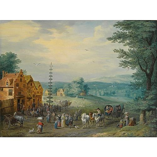Carel Beschey Antwerp 1706 - 1770 , a summer landscape with elegant travellers, a horse-drawn wagon, near a village with peasants dancing around a may-tree; a winter landscape with travellers and a horse-drawn cart, near a village with figures