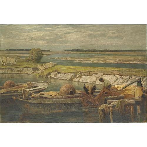 m - Francesco Sartorelli (Cornuda 1856 - Udine 1938) , pescatori in laguna