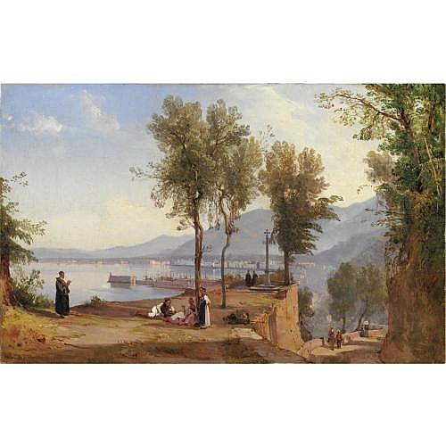 Giacinto Gigante (Napoli 1806 - 1876) , veduta di castellamare di stabia