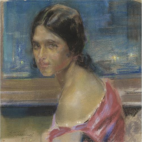 m - Gino Piccioni (Foligno 1873 - Biella 1941) , volto di fanciulla
