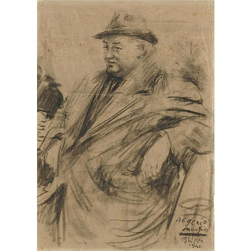 m - Paulo Ghiglia (Firenze 1905 - Roma 1979) , ritratto di mario galli