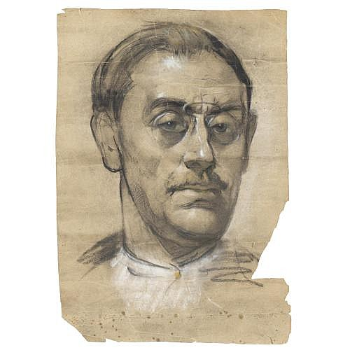 m - attribuito a Paulo Ghiglia (Firenze 1905 - Roma 1979) , ritratto del pittore llewelyn lloyd