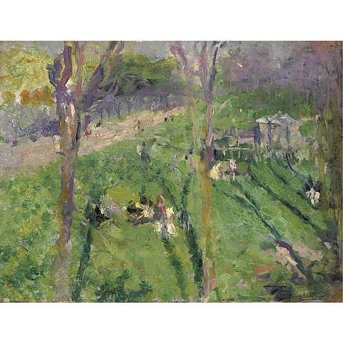 Serafino Macchiati (Camerino 1861 - Parigi 1916) , paesaggio