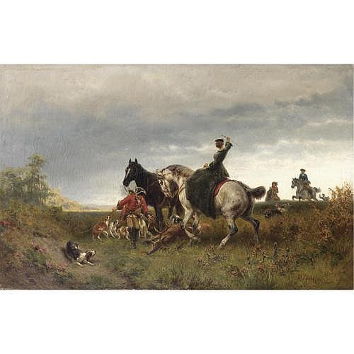 Wilhelm Pfeiffer (Wolfenbuttel 1822 - Munich 1891) , caccia al cervo