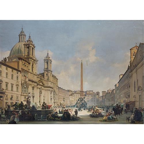 Ippolito Caffi (Belluno 1809 - Lissa 1866) , veduta di piazza navona, roma