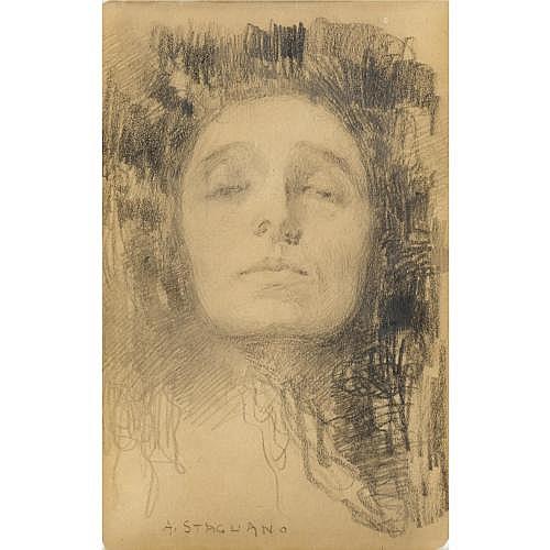 arturo stagliano (cuglionesi 1867 - torino 1936) Plinio Nomellini (Livorno 1866 - Firenze 1943) , gruppo di tre studi a vari soggetti