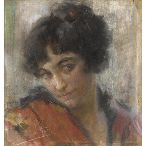 m - Riccardo Galli (Milano 1869 - Barzio 1944) , ritratto di fanciulla