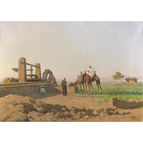 Stephan Wladislawowitsch Bakalowicz (? 1857 - ? 1947) , l'abbeverata dei cammelli