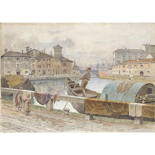 Arturo Ferrari (Milano 1861 - 1932) , canale veneziano